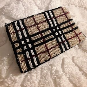 Beaded Coin Purse in Classic Design Plaid